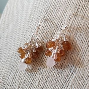 Artisan Wire Wrapped Amber Cluster Drop Earrings